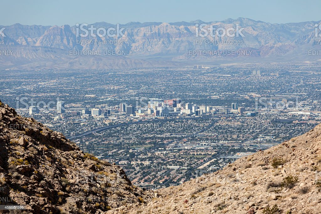 Downtown Las Vegas and Spring Mountains royalty-free stock photo