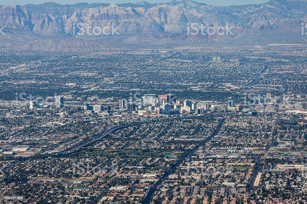 Downtown Las Vegas Editorial Aerial stock photo