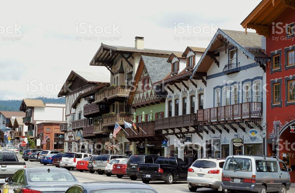 Downtown Leavenworth stock photo