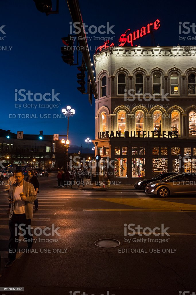 Downtown Lexington Kentucky at night stock photo