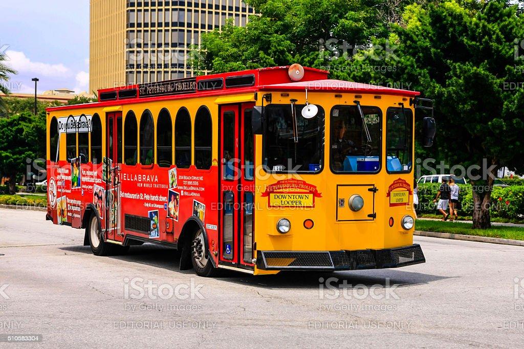 Downtown Looper bus that tours St. Petersburg, Florida stock photo