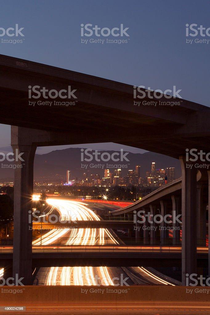 Downtown Los Angeles Freeways stock photo