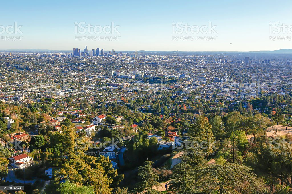 Downtown Los Angeles from Griffith Park stock photo