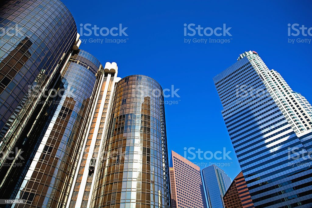 Downtown Los Angeles Hotels, Highrises and High Up OfficeTowers stock photo