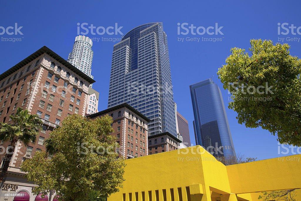 LA Downtown Los Angeles Pershing Square palm tress stock photo