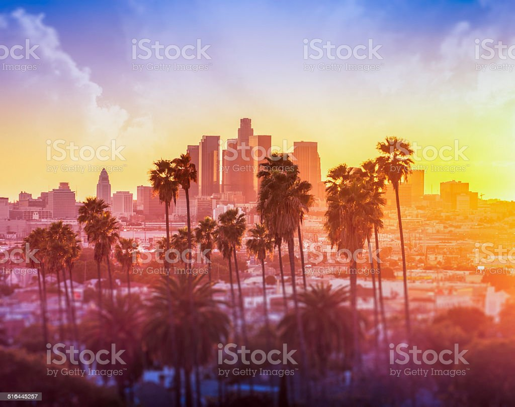 Downtown Los Angeles photographed at sunset stock photo