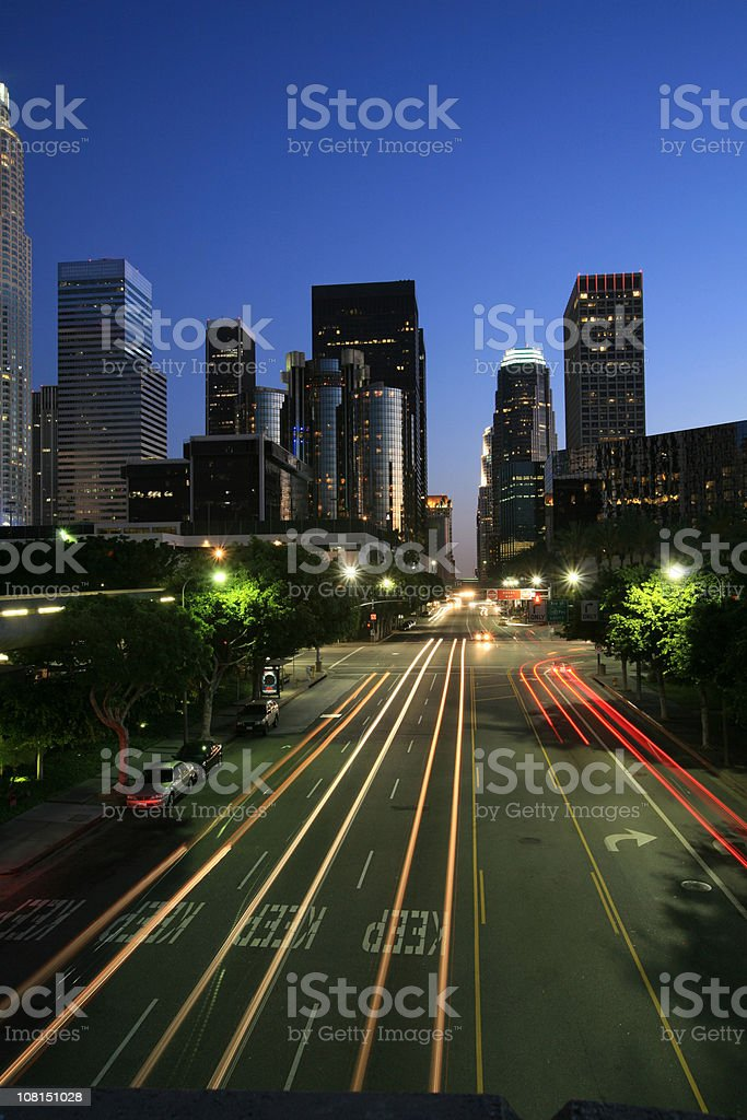 Downtown Los Angeles Skyline at Night, Motion Blur of Cars stock photo