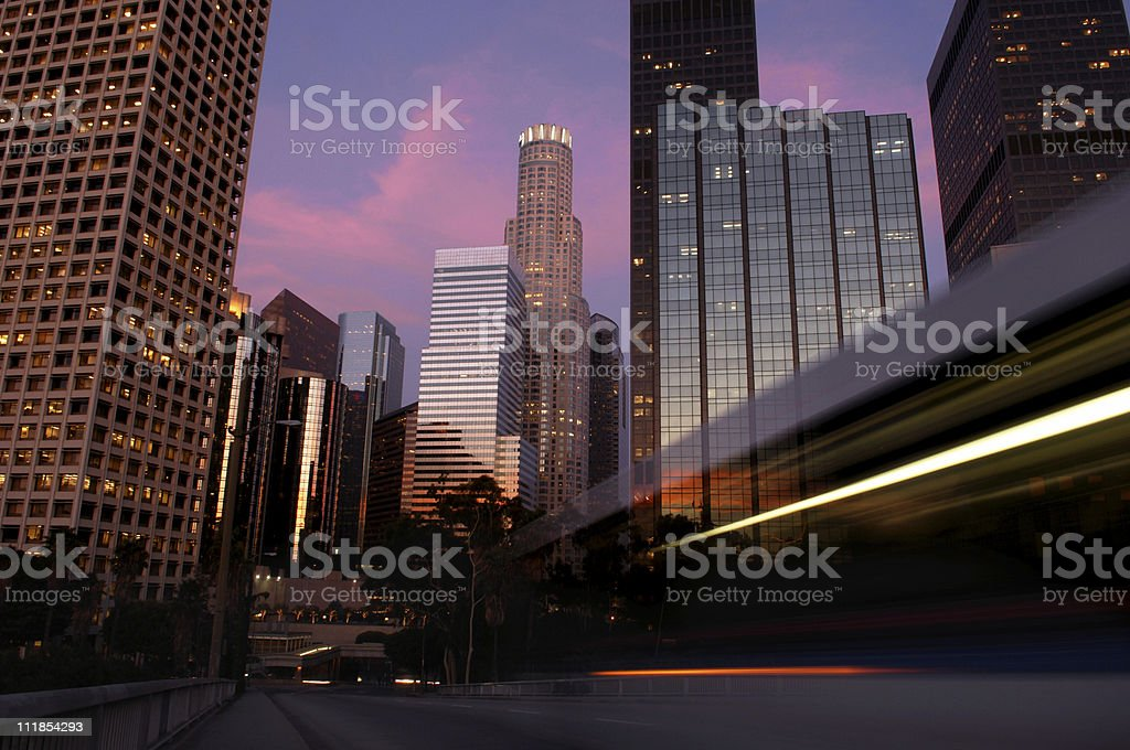 Downtown Los Angeles Skyline at Twilight with Purple Pink Clouds royalty-free stock photo