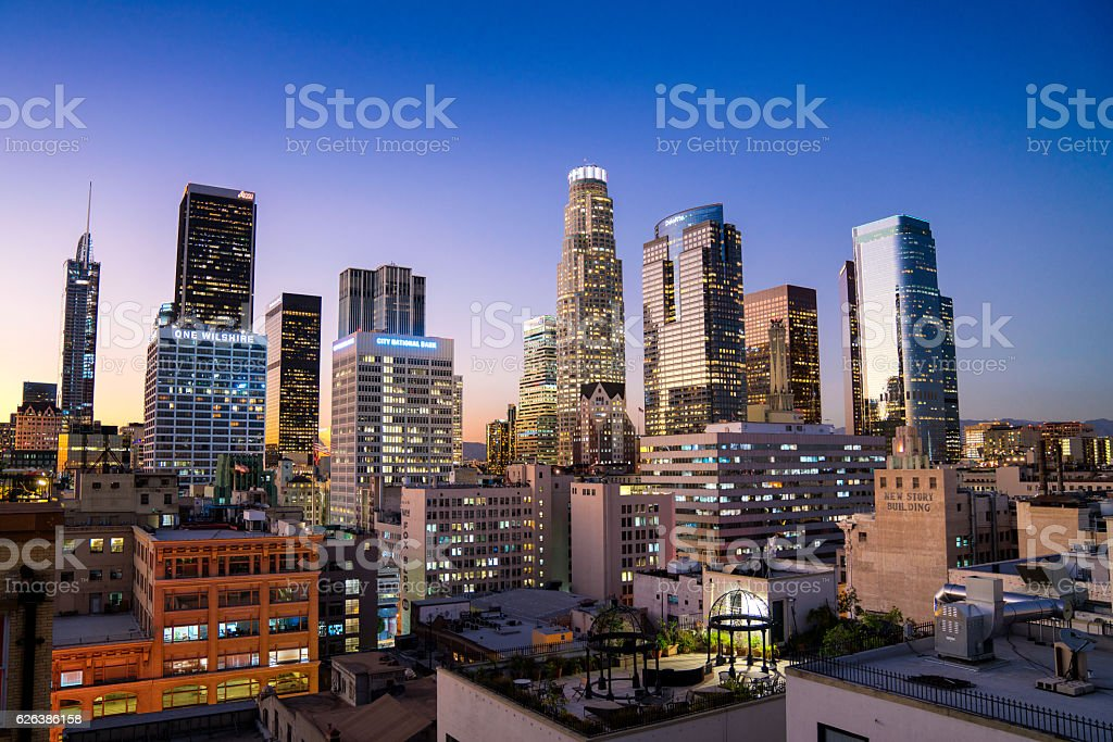 Downtown Los Angeles Skyline stock photo