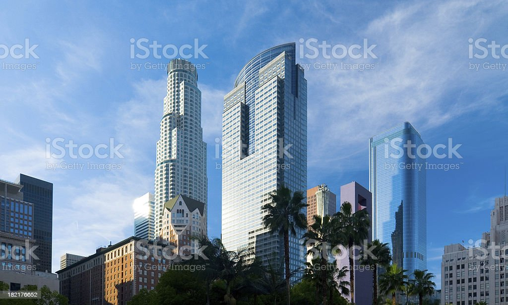 Downtown Los Angeles skyscrapers at late afternoon stock photo