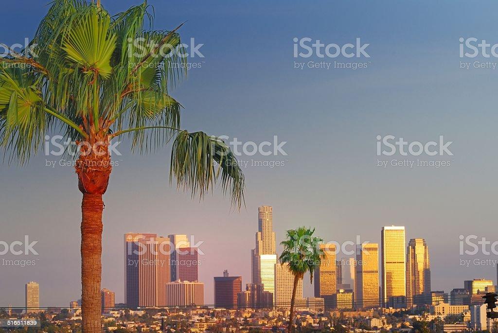 Centro de la ciudad de Los Ángeles con palmeras - foto de stock