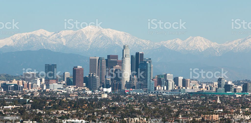Downtown Los Angeles with Snow Capped Mountains stock photo