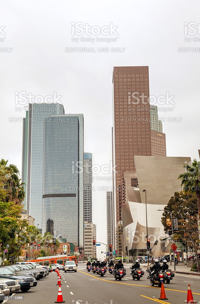 Downtown Los Angeles with the Walt Disney concert hall stock photo