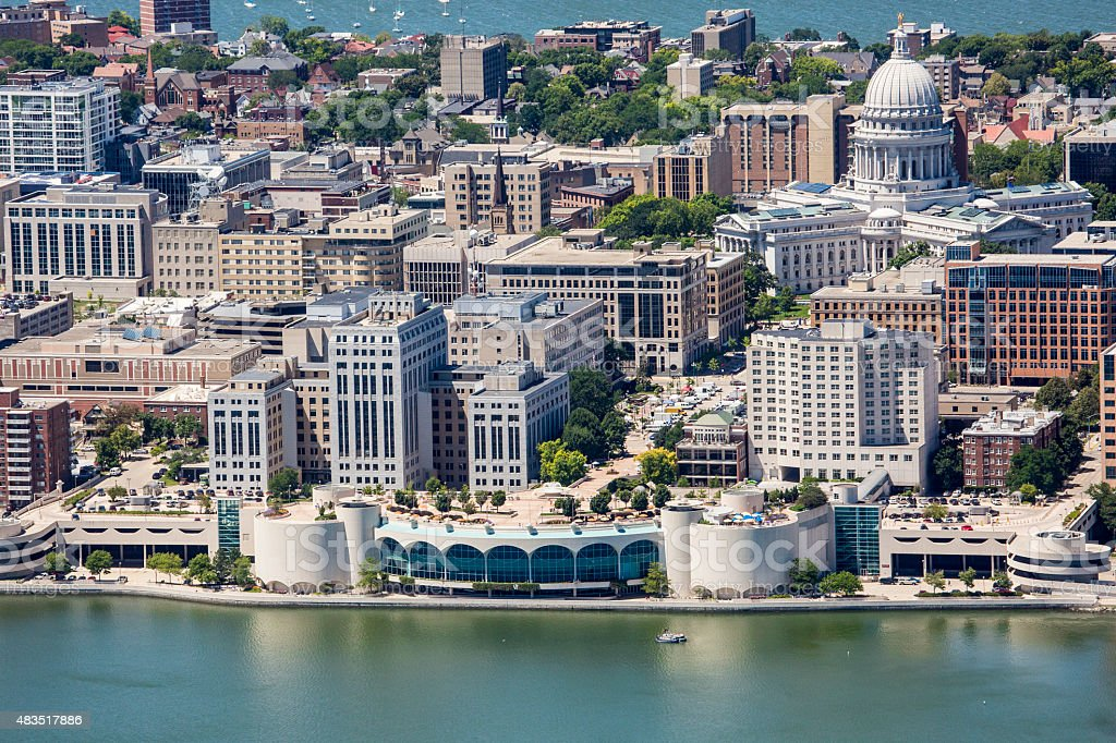 Downtown Madison from air with Monona Terrace and Capitol stock photo