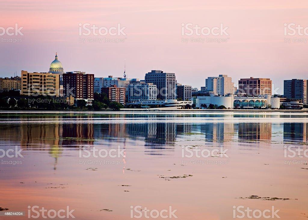 Downtown Madison seen acrross Lake Monona stock photo