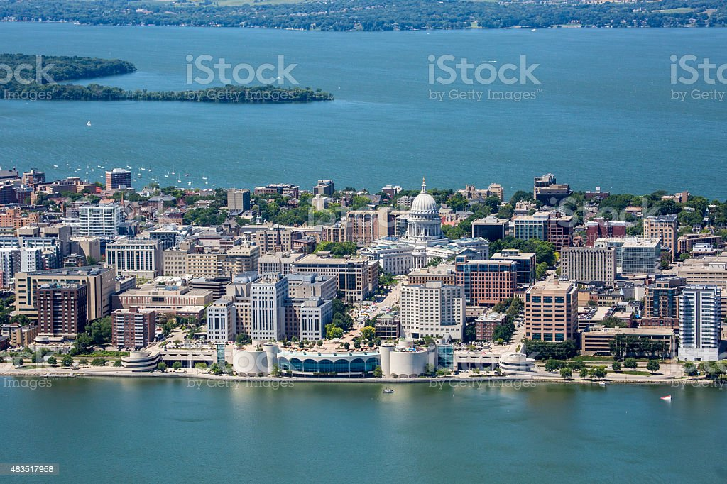 Downtown Madison Wisconsin Isthmus stock photo