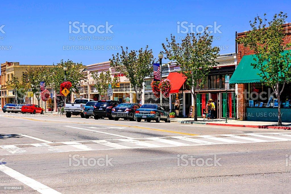 Downtown Main Street shops and restaurants in Santa Paula California stock photo