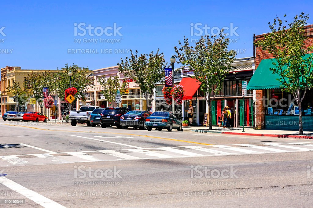 Downtown Main Street shops and restaurants in Santa Paula California stock photo