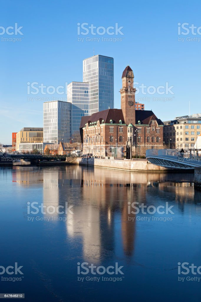 Downtown Malmo with old and modern buildings stock photo