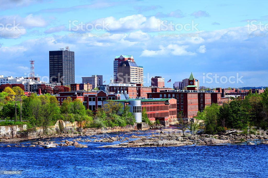 Downtown Manchester, New Hampshire stock photo