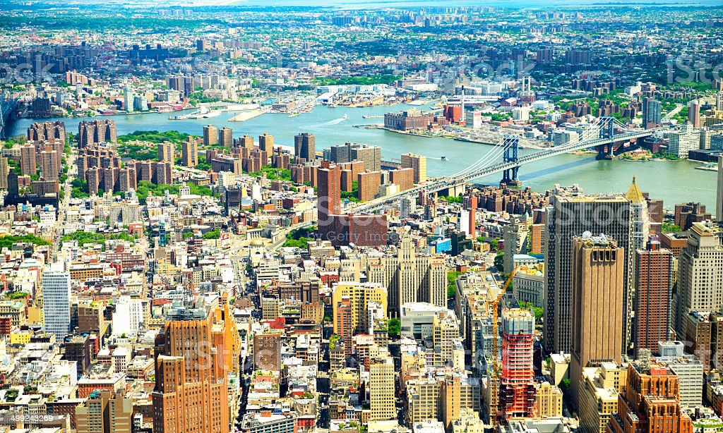Downtown Manhattan Aerial View, NYC. royalty-free stock photo