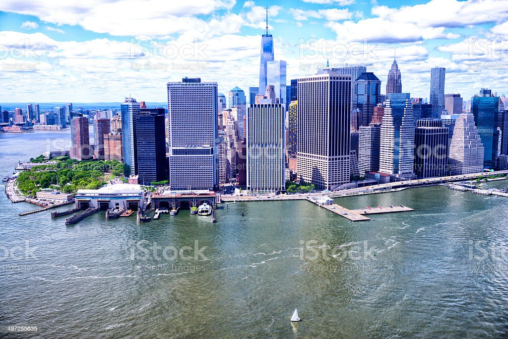 Downtown Manhattan and One World Trade Center royalty-free stock photo