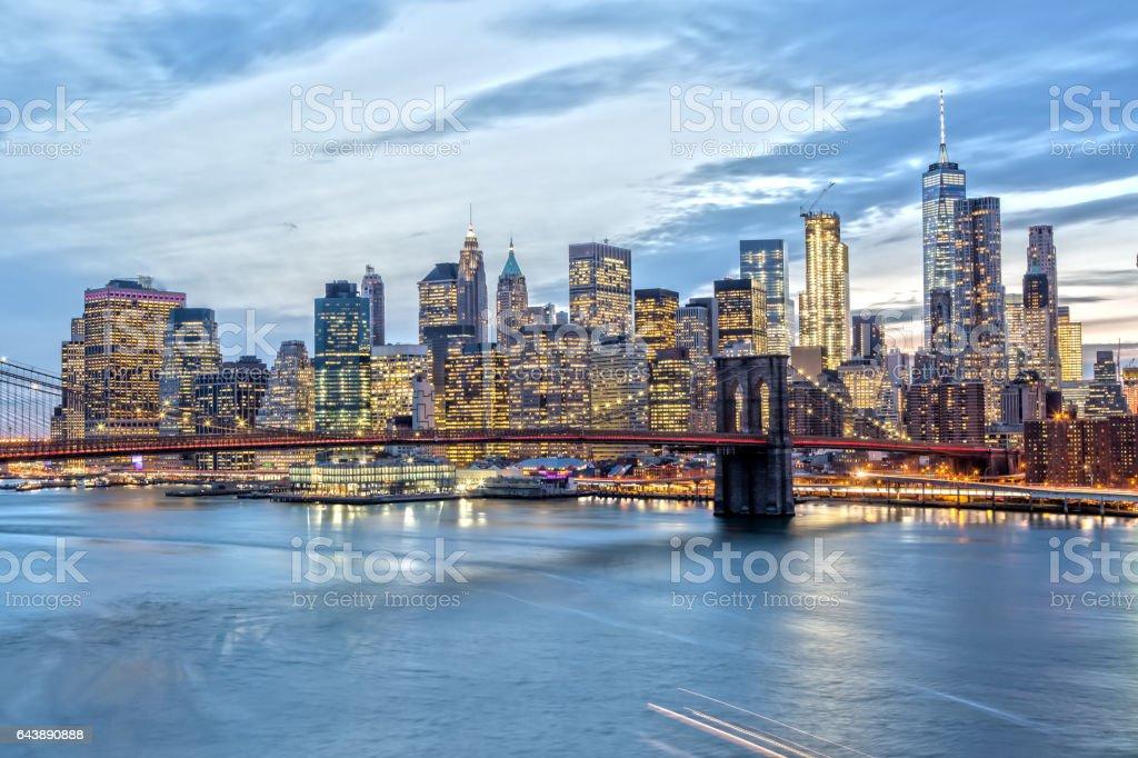 Downtown Manhattan at Night from Manhattan Bridge stock photo