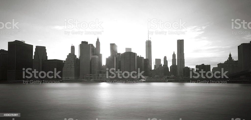 Downtown Manhattan at Sunset stock photo