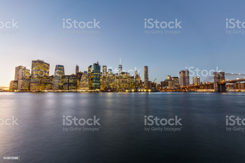 Downtown Manhattan from Brooklyn Heights stock photo