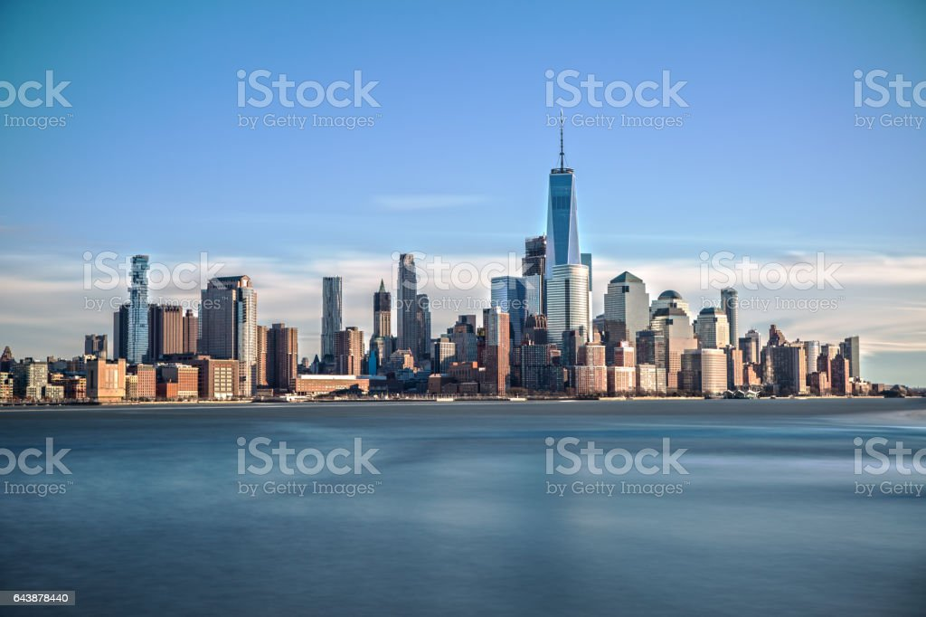 Downtown Manhattan from Hoboken stock photo