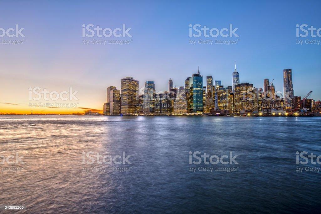 Downtown Manhattan Skyline at Sunset stock photo