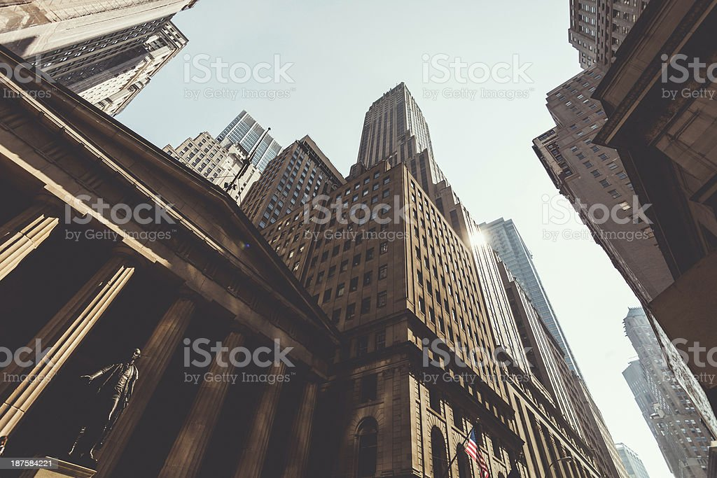 Downtown Manhattan with Federal Hall and Skyscrapers stock photo