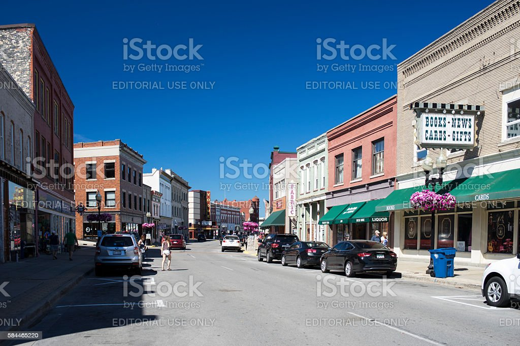 Downtown Manistee, Michigan stock photo