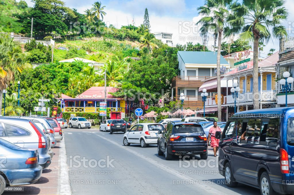 Downtown Marigot stock photo