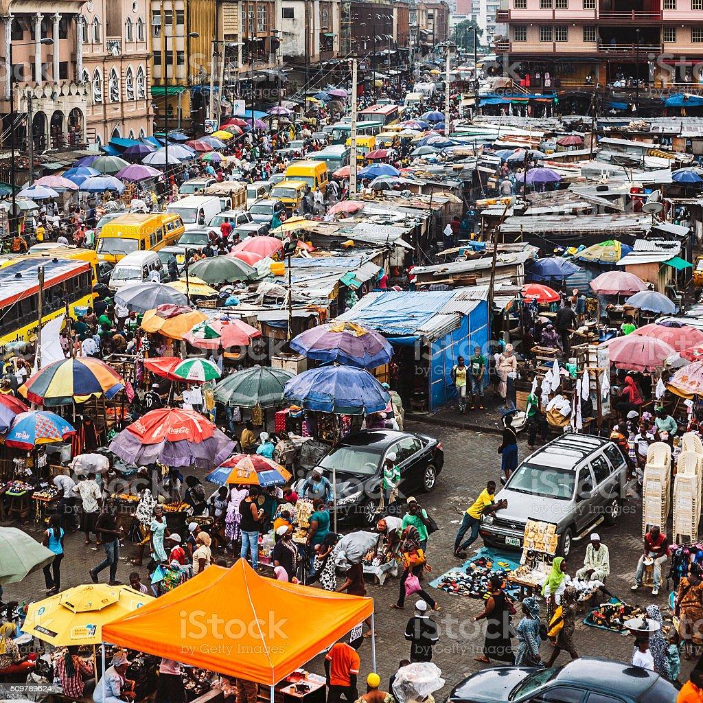 Downtown market streets. Lagos, Nigeria. stock photo