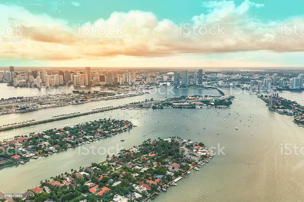 Downtown Miami and some of the Biscayne Bay Islands stock photo