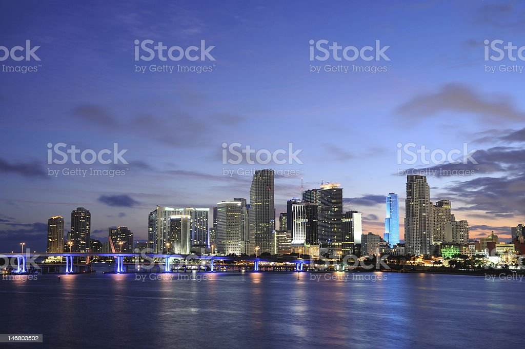 Downtown Miami at dusk royalty-free stock photo