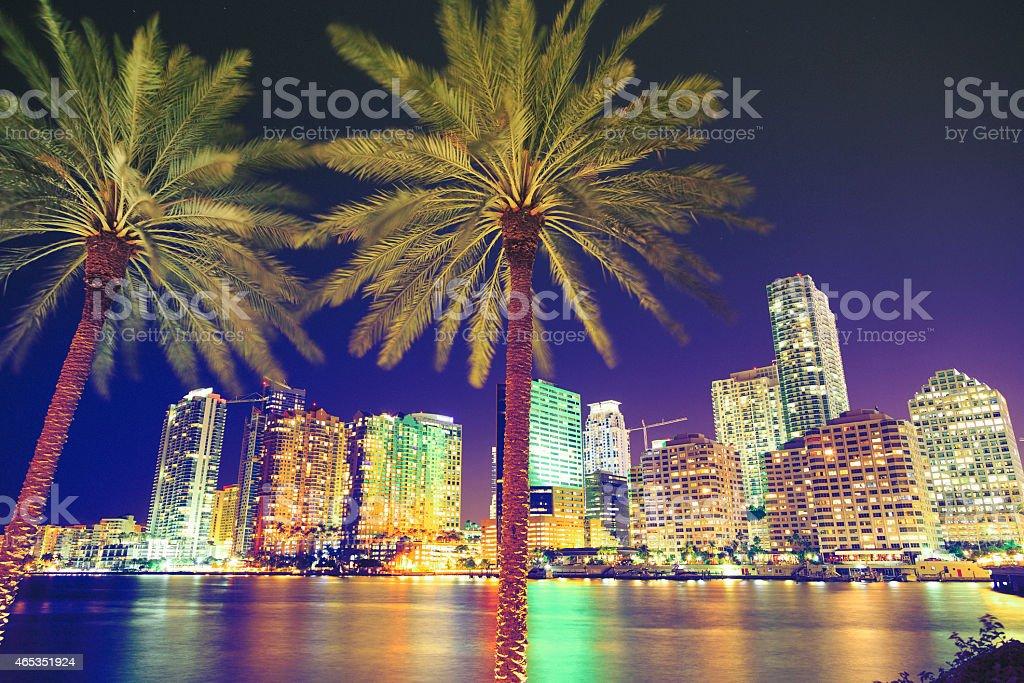 Downtown Miami by night stock photo