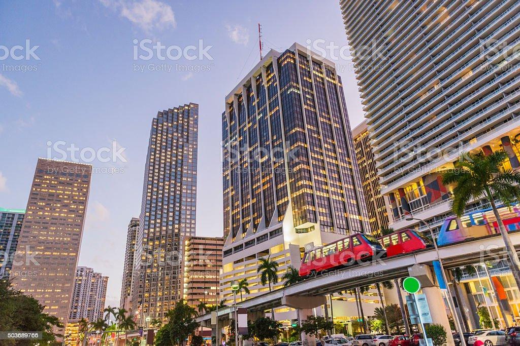 Downtown Miami City Buildings Illuminated at Dusk stock photo