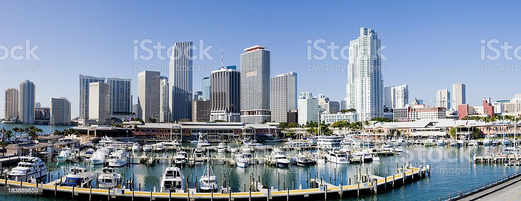 Downtown Miami City Harbor and Skyline in Florida USA royalty-free stock photo