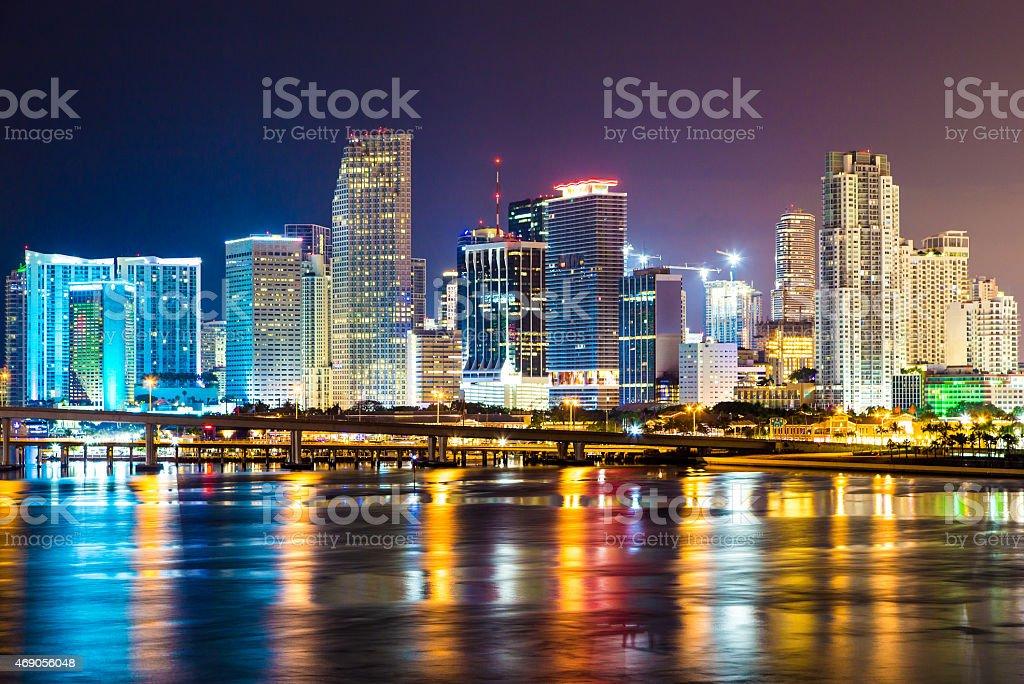 Downtown Miami, Night city stock photo
