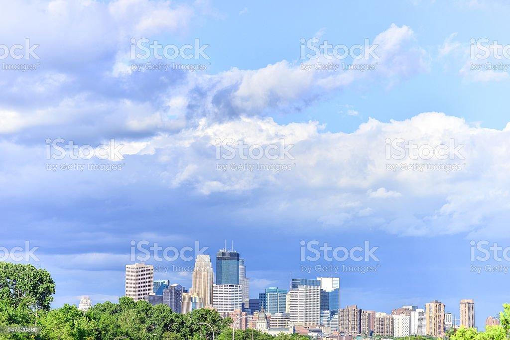 Downtown Minneapolis Skyline and Blue Cloudy Skys stock photo