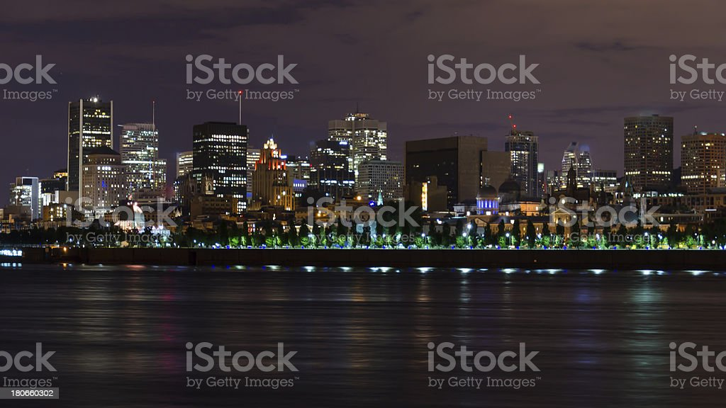 Downtown Montreal at Night, Quebec, Canada royalty-free stock photo