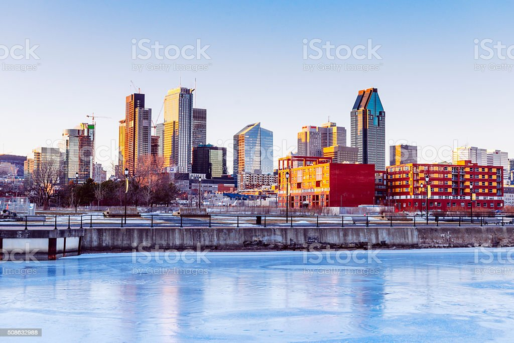 Downtown Montreal City Skyline Reflecting in Lachine Canal Quebec Canada stock photo