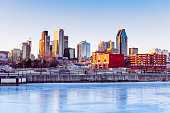 Downtown Montreal City Skyline Reflecting in Lachine Canal Quebec Canada