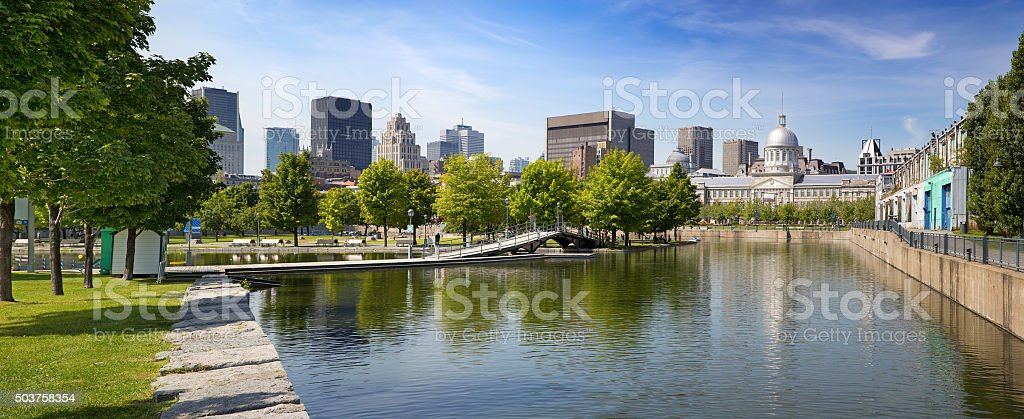 Downtown Montreal in summer stock photo