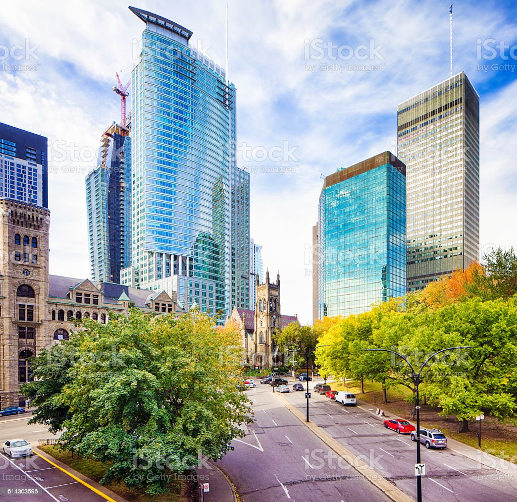 Downtown Montreal modern office and condo skyscrapers stock photo