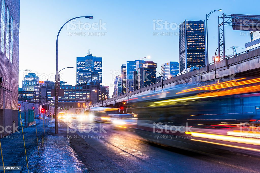 Downtown Montreal Rush Hour Traffic at Night Urban Quebec Canada stock photo