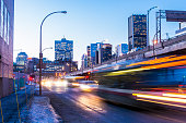Downtown Montreal Rush Hour Traffic at Night Urban Quebec Canada