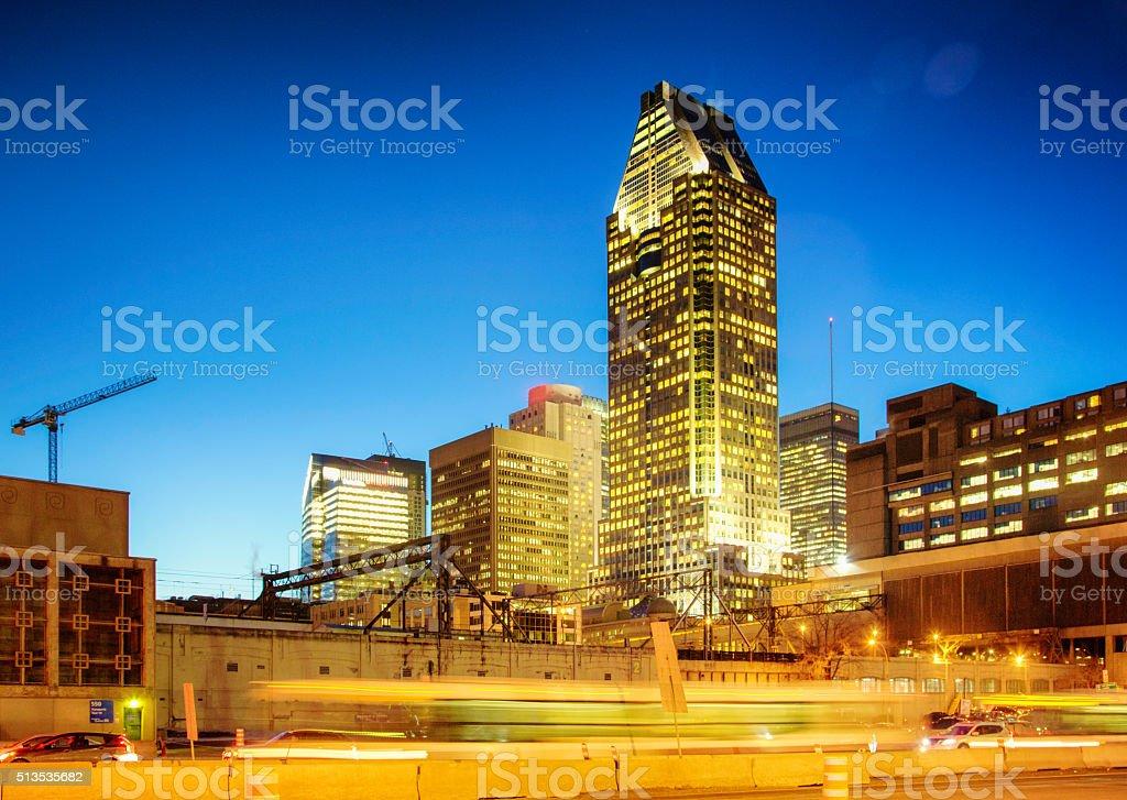 Downtown Montreal skyline at night Bonaventure train station stock photo